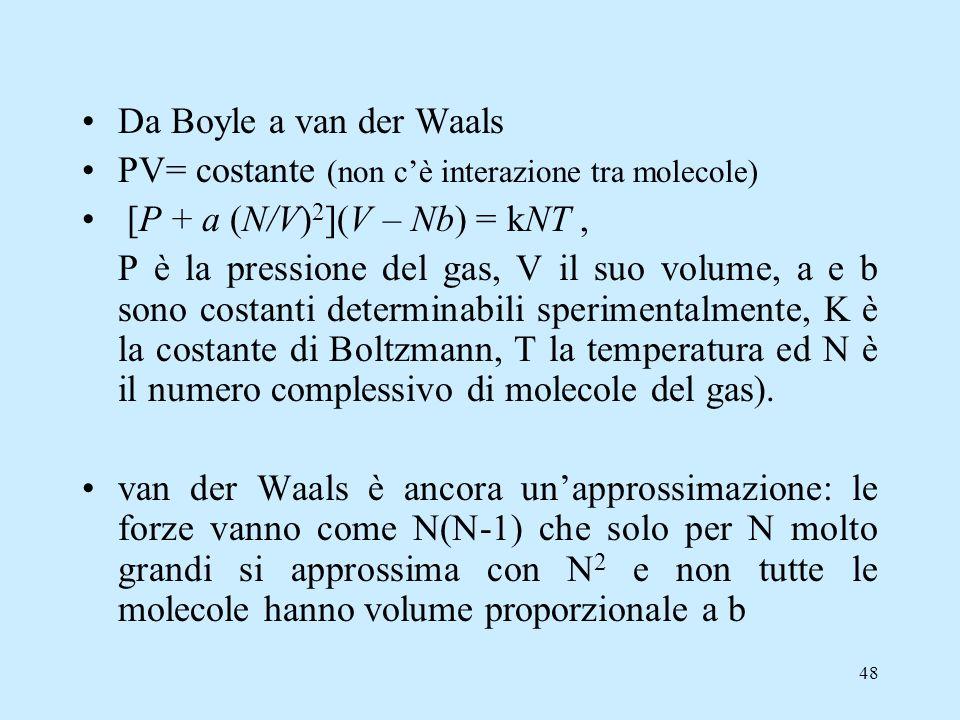 Da Boyle a van der Waals PV= costante (non c'è interazione tra molecole) [P + a (N/V)2](V – Nb) = kNT ,